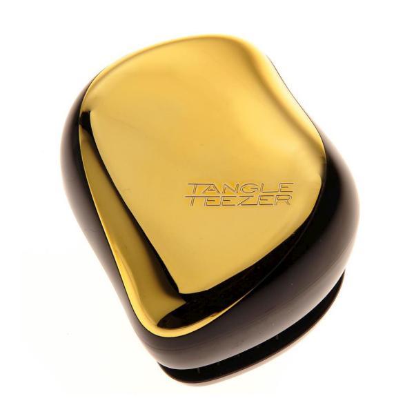 Cestovná kefa na rozčesávanie vlasov Tangle Teezer Compact - čierna/zlata (compact; TT003) + DARČEK ZADARMO